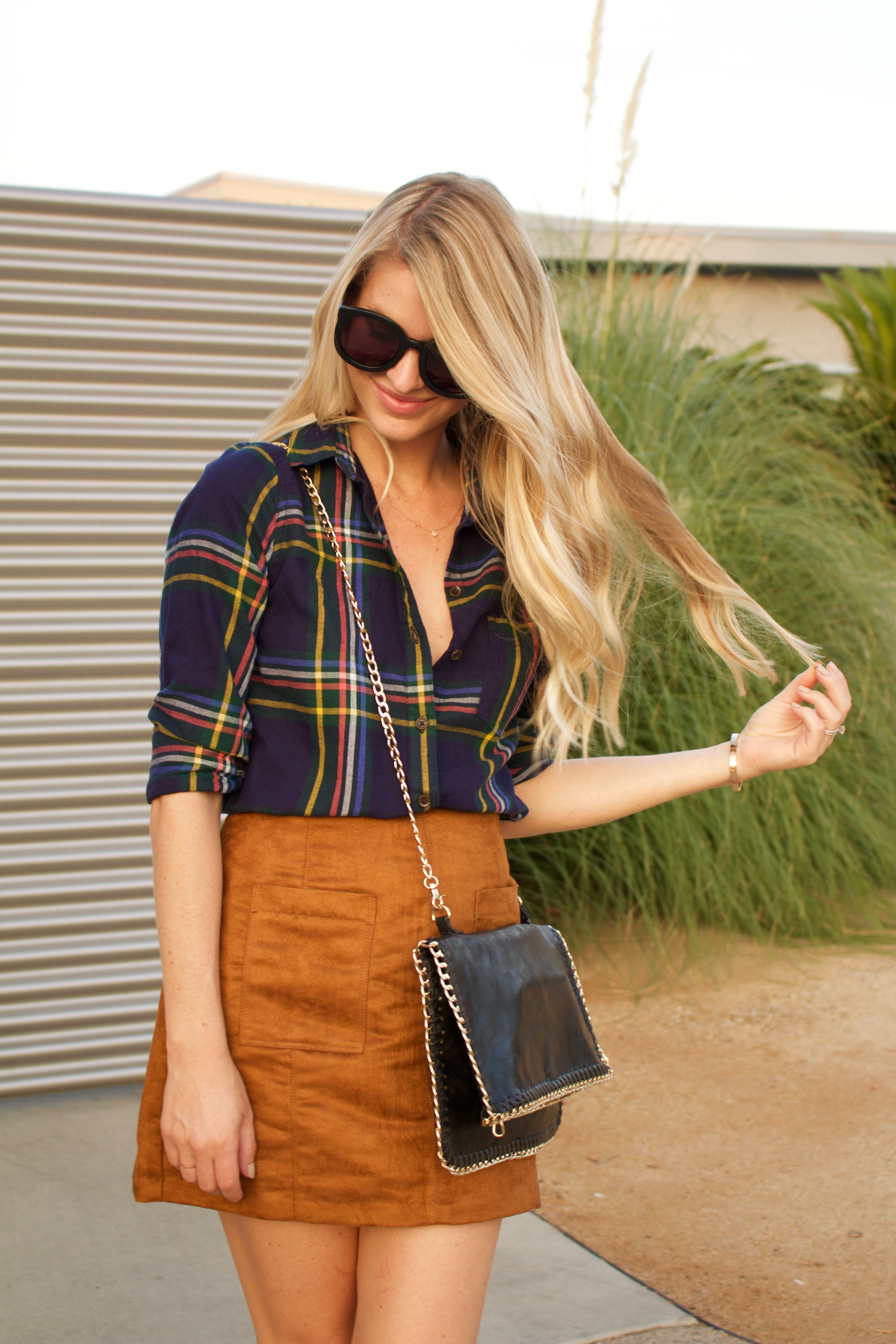 plaid shirt and suede skirt